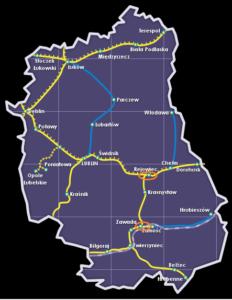 Mapa Lubleskie - sieć kolejowa